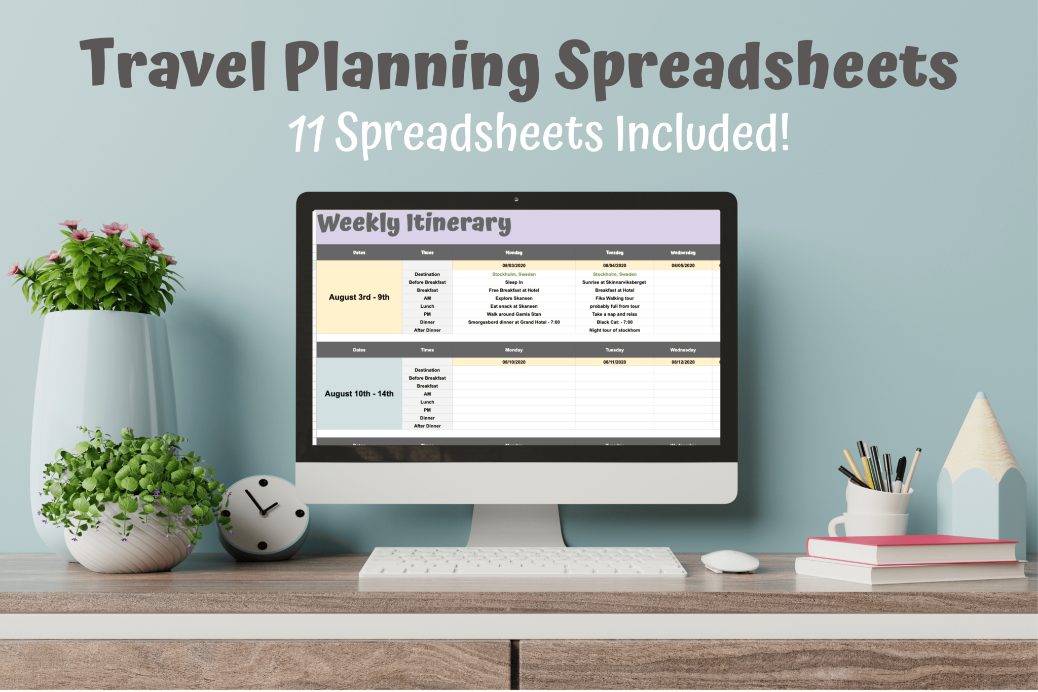 Travel Planning Spreadsheets