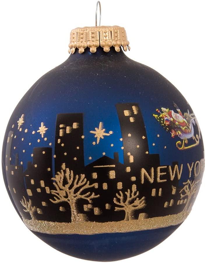 New York Santa Skyline Painted Ball Ornament