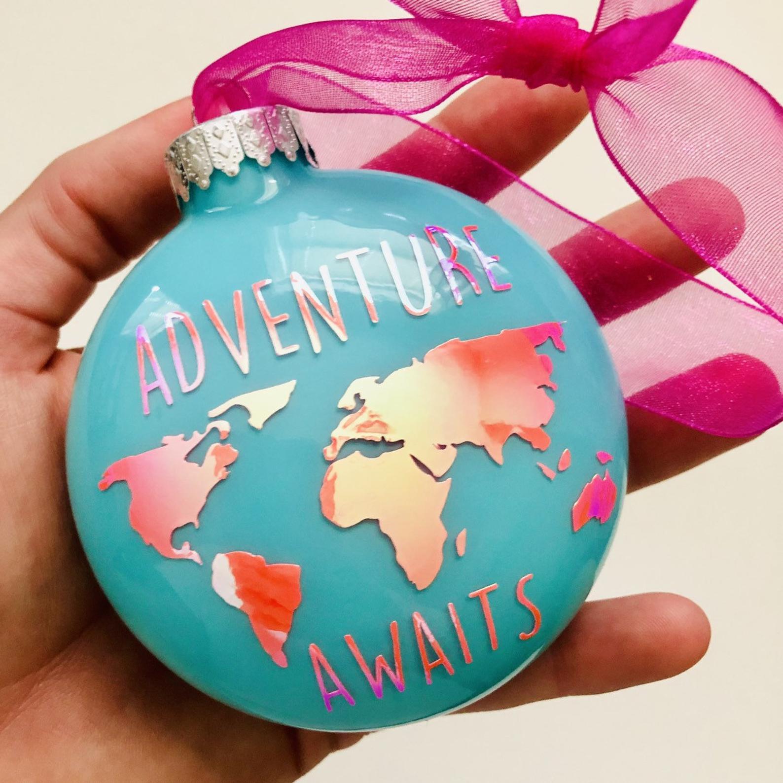 Adventure Awaits - Travel Inspired Christmas Ornament