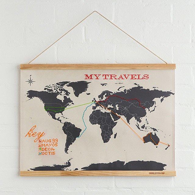 wanderlust cross stitch map