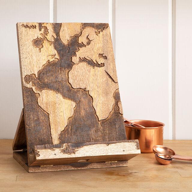 world wooden cookbook stand